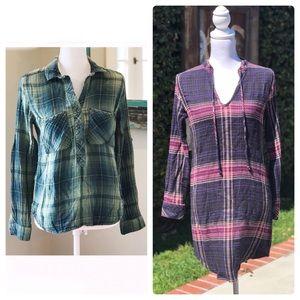 Cloth + Stone bundle- plaid tunic dress and shirt